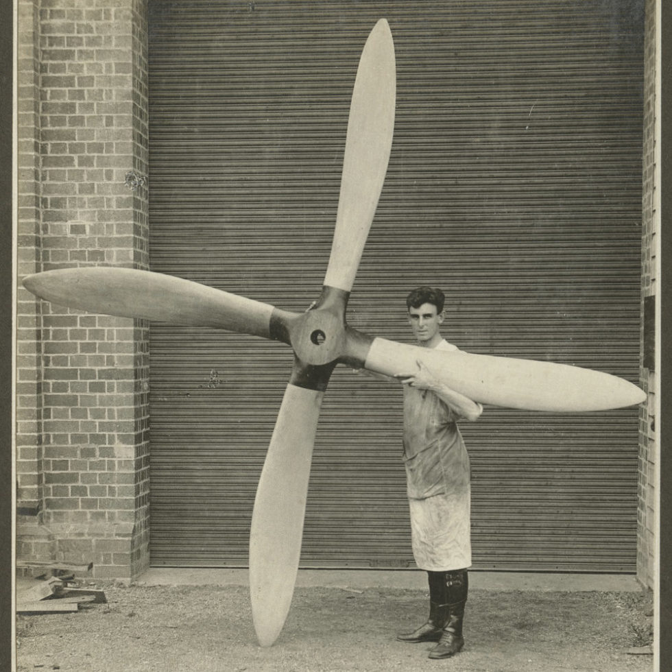 Image: A new propeller for the biplane that is twice as tall a man.