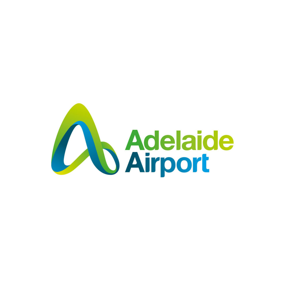 Image: green and blue stylised letter A with the words 'Adelaide Airport'